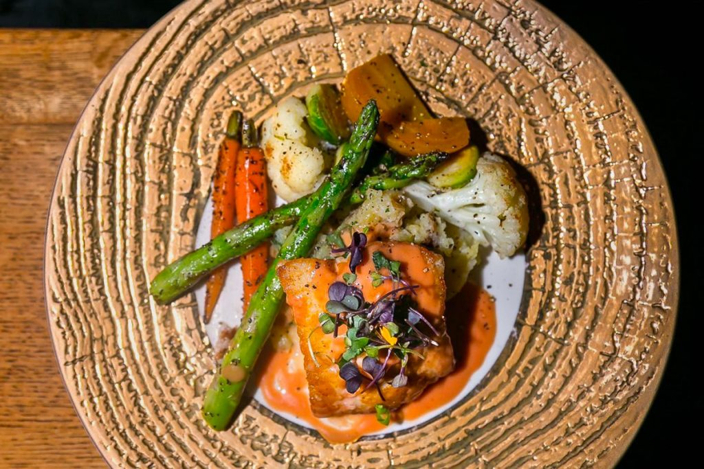 Hotel Eldorado's BC Ling Cod: pan seared, blood orange cream, crushed potato, seasonal vegetables paired with Liquidity's Chardonnay. Their featured entrée for Dine Around (includes 3 courses with wine pairings $70, or 3 courses for $35).